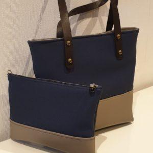PAOLA – Duo Sac et pochette beige et bleu